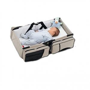 Baby in grey portable trolley